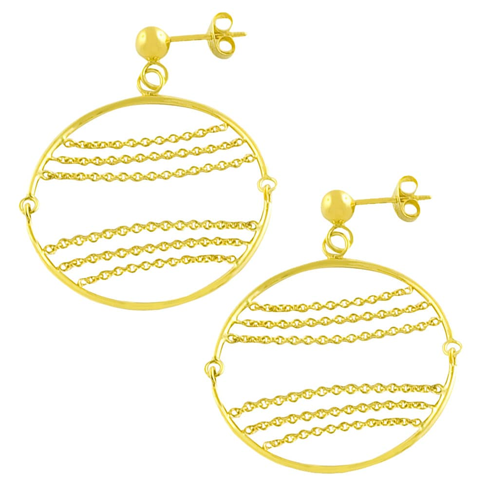 Fremada 14k Yellow Gold Circle and Chains Dangle Earrings