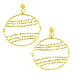 Fremada 14k Yellow Gold Circle and Chains Dangle Earrings - Thumbnail 1