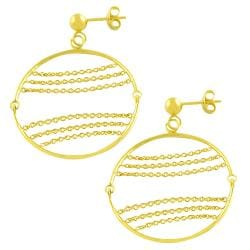 Fremada 14k Yellow Gold Circle and Chains Dangle Earrings - Thumbnail 0
