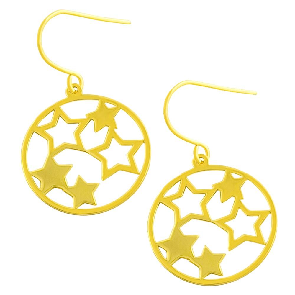 Fremada 14k Yellow Gold Circle of Stars Dangle Earrings