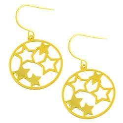 Fremada 14k Yellow Gold Circle of Stars Dangle Earrings - Thumbnail 0