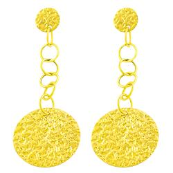 Fremada 14k Yellow Gold Hammered Disc Dangle Earrings - Thumbnail 1