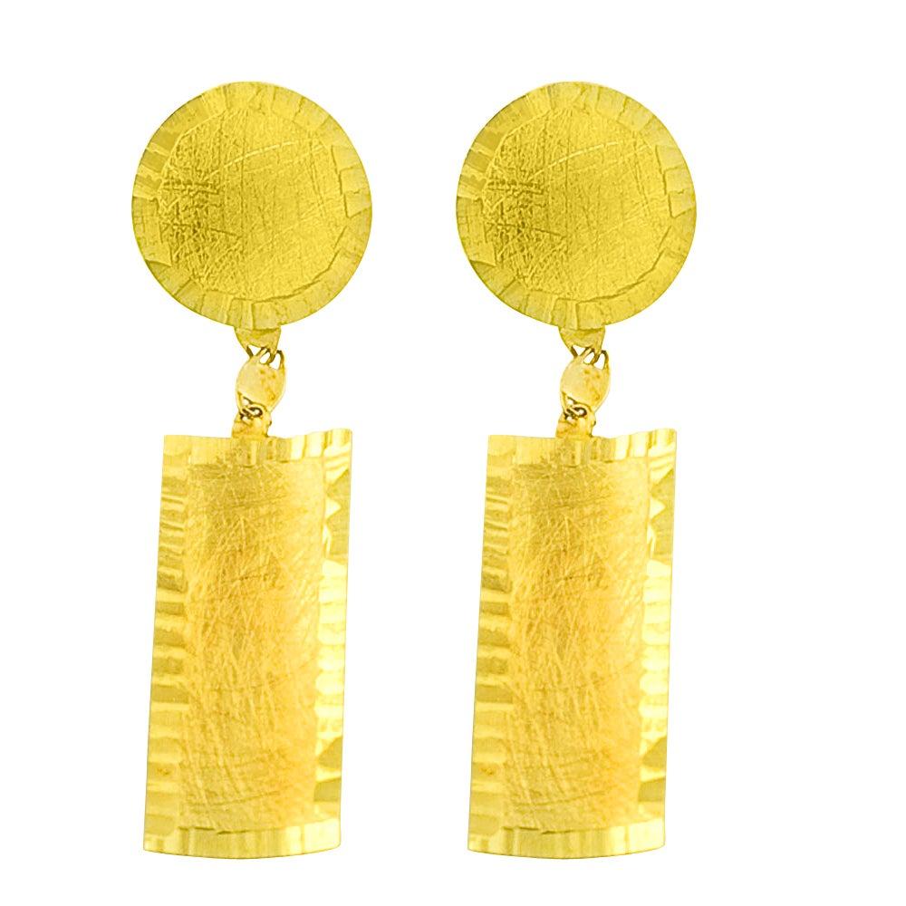 Fremada 14k Yellow Gold Satin Multi-shape Dangle Earrings