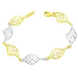 Fremada 14k Two-tone Gold Twisted Cyclone Bracelet