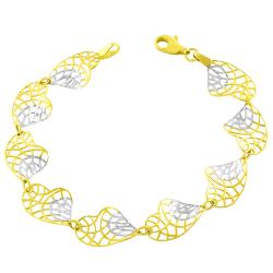 Fremada 14k Two-tone Gold Twisted Filigree Heart Bracelet