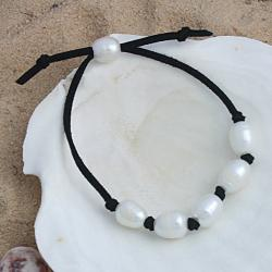 Handknotted White Freshwater Pearls Black Suede Adjustable Bracelet (10mm) (USA)