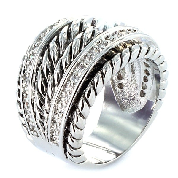 Silvertone Double Rope Fashion Ring