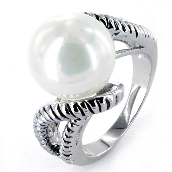 Silvertone Faux Pearl Antiqued Ring
