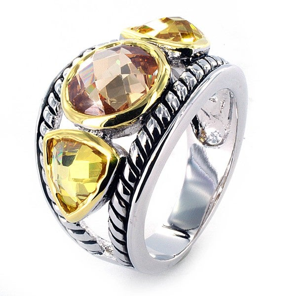 West Coast Jewelry Silvertone Champagne and Golden Topaz Crystal Ring