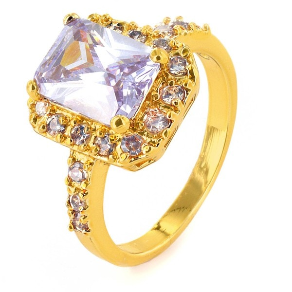 West Coast Jewelry Goldtone Lavender Cubic Zirconia Ring