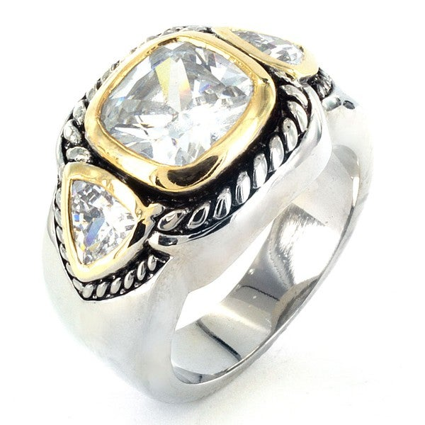 West Coast Jewelry Silvertone Cubic Zirconia Polished 3-stone Ring