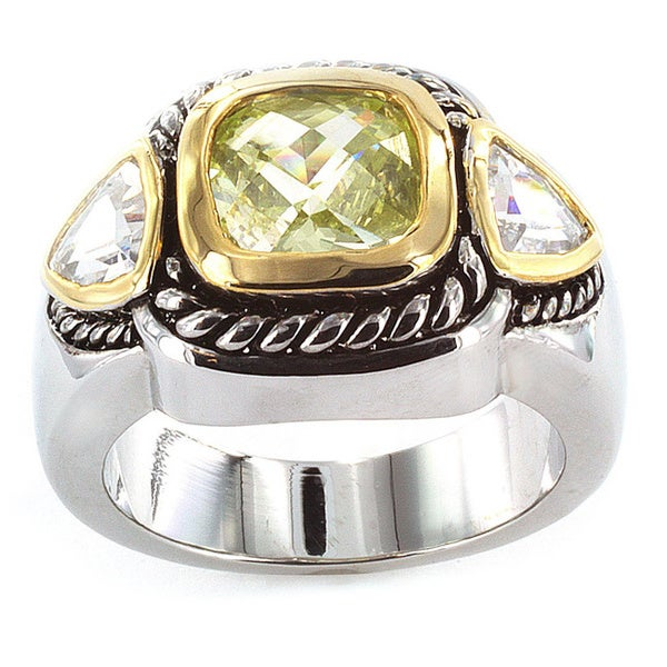 Silvertone Green Cubic Zirconia Polished 3-stone Ring