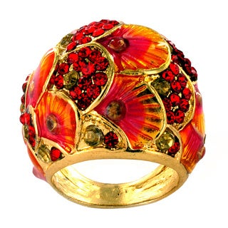 Goldtone Red and Clear Crystal Colorful Peacock Ring