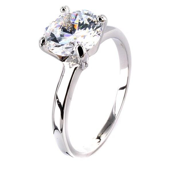 West Coast Jewelry Silvertone Large Cubic Zirconia Polished Engagement-style Ring