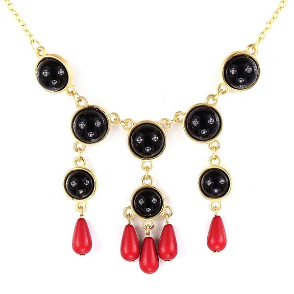 West Coast Jewelry Goldtone Black and Red Faux Stone Bead Drop Bib Necklace