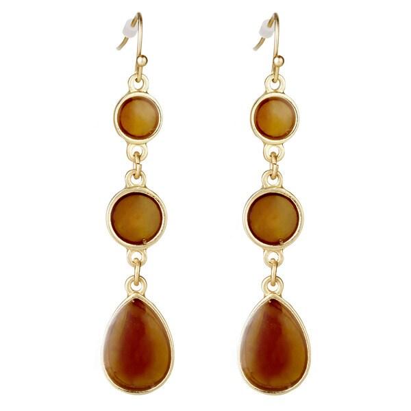West Coast Jewelry ELYA Goldtone Bronze Faux 3-stone Drop Earrings