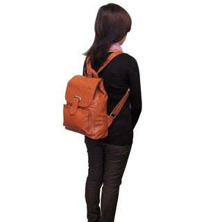 Amerileather Miles Leather Flapover Drawstring Backpack