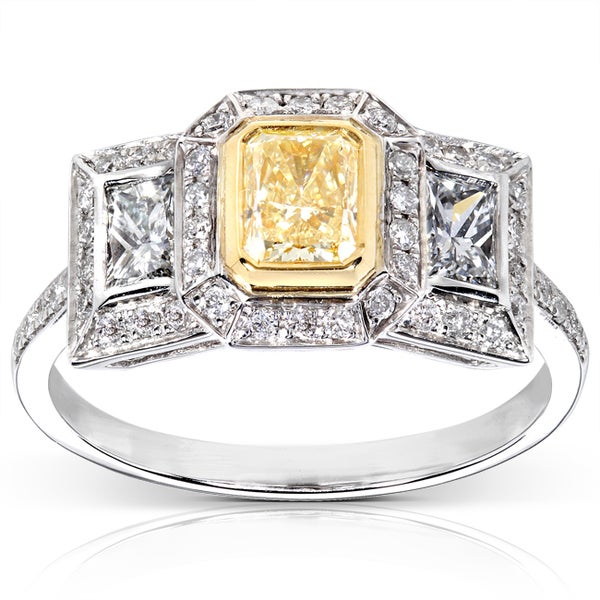 Annello by Kobelli 14k Gold 1 1/3 ct TDW Certified Yellow and White Diamond Engagement Ring