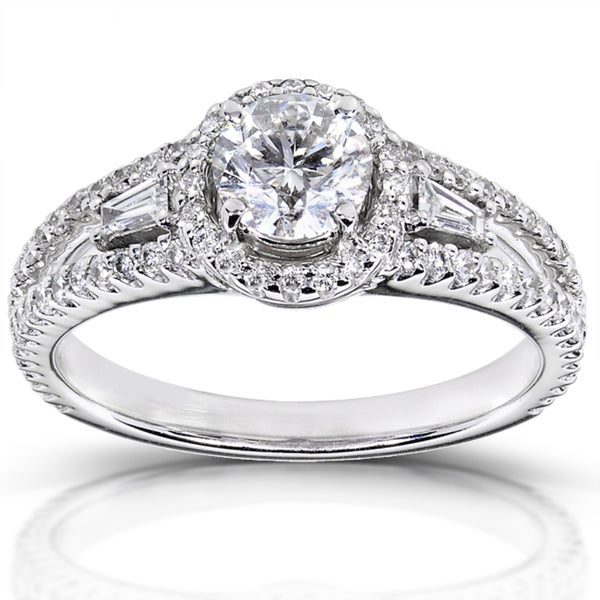 Annello by Kobelli 14k White Gold 1 1/5 ct TDW Certified Diamond Engagement Ring (F, SI2)