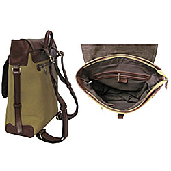 Amerileather Brown Buckled Flapover Two-tone Backpack - Thumbnail 1
