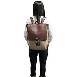 Amerileather Brown Buckled Flapover Two-tone Backpack - Thumbnail 2