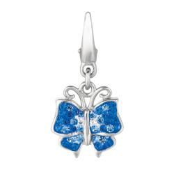 Sterling Silver and Blue Crystal Butterfly Charm