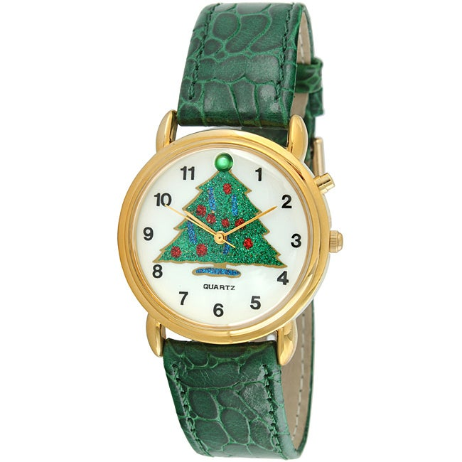 Trax Christmas Tree Musical Green Leather Strap Watch