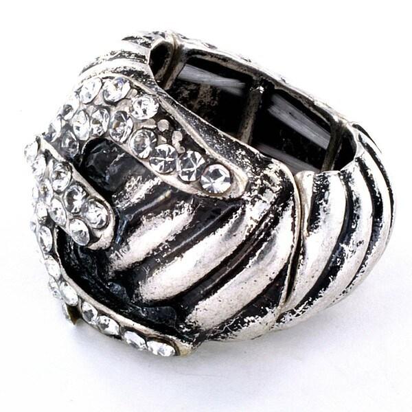 Silvertone Buckle Design with Crystal Trim Stretch Ring