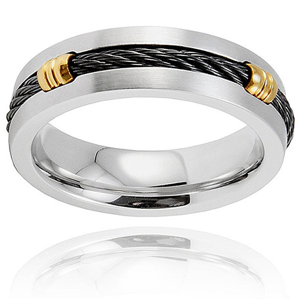 Black Plated Center and Grooved Accents Stainless Steel Ring