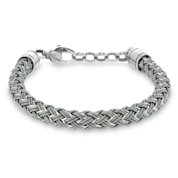 Stainless Steel and Grey Rubber Braided Bracelet