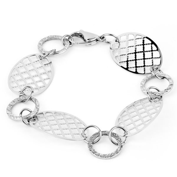Stainless Steel Patterned Disc Bracelet with Lobster Clasp