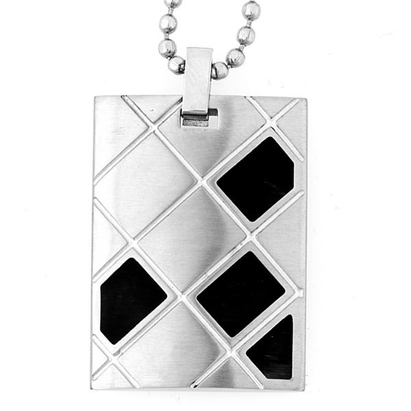 Stainless Steel Black-plated Design Brushed Dog Tag Necklace