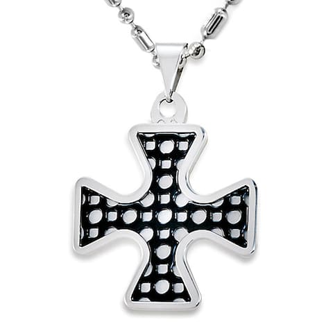 Stainless Steel Blackplated Design Cross Necklace