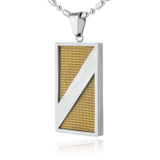 Stainless Steel Brushed Goldplated Mesh Inlay Dog Tag Necklace