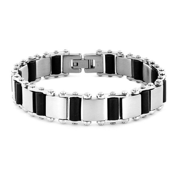 Stainless Steel and Black Rubber Men's Brushed Link Bracelet