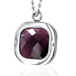Stainless Steel Polished Purple Crystal Necklace