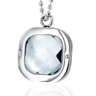 Stainless Steel Polished Clear Crystal Necklace