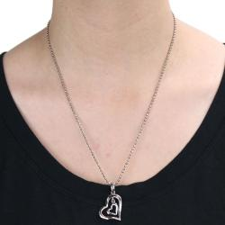 Steel Polished Dangling Hearts Necklace