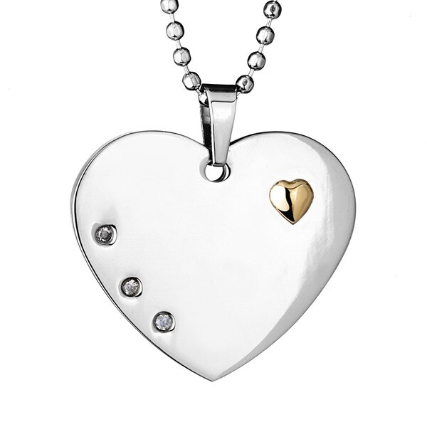 Goldplated Steel Clear Cubic Zirconia Polished Heart Necklace