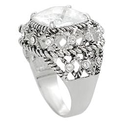 Journee Collection Silvertone Round and Cushion-cut Cubic Zirconia Rope-style Dome Ring