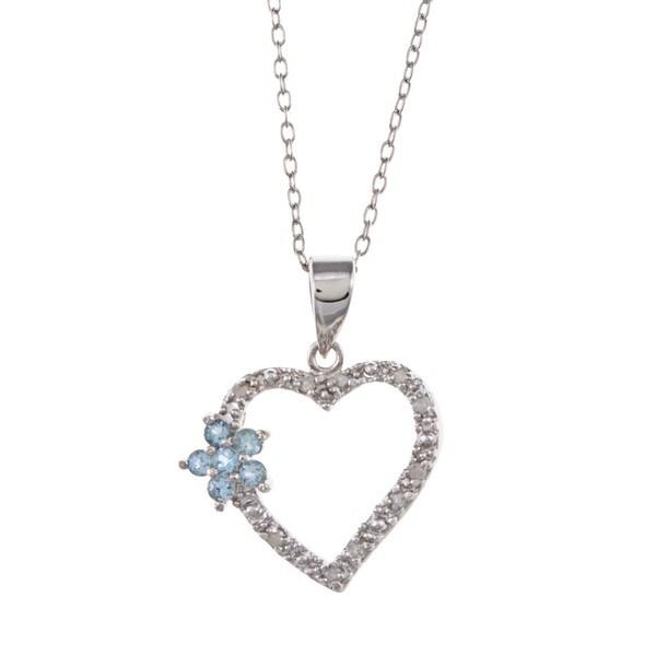 Sterling Silver Blue Topaz and 1/10ct TDW Diamond Necklace (J-K, I3)