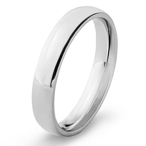 Men's High Polish Stainless Steel Traditional Wedding Band - 4mm Wide