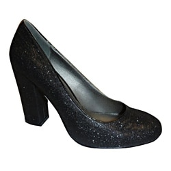 Bucco Ladies' Imperial Black Glitter Pumps
