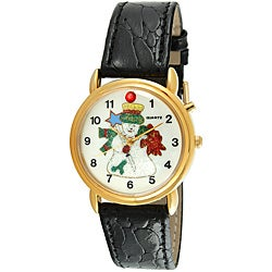 Trax Frosty the Snowman Singing Black Leather Musical Watch