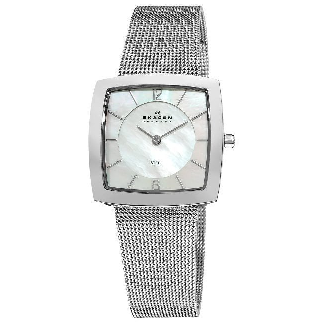 Skagen Square Mesh Silver Band MOP Dial Watch