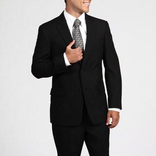 Tommy Hilfiger Men's Trim Fit Black Pinstripe 2-button Wool Suit