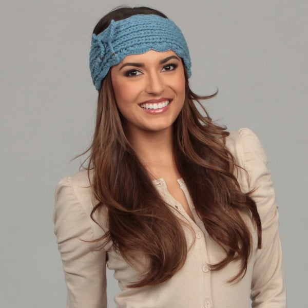 Hat Attack Women's Blue Crochet Edge Knit Headband FINAL SALE