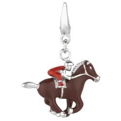 Sterling Silver Jockey on Horse Charm