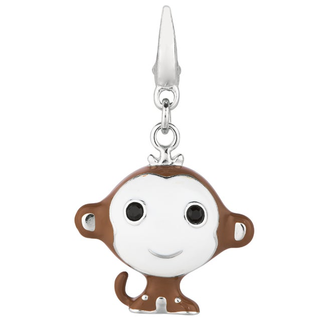 High-polished Sterling Silver and Enamel Clip-on Monkey Charm