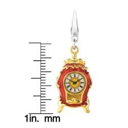 Sterling Silver Vintage Clock Charm - Thumbnail 2